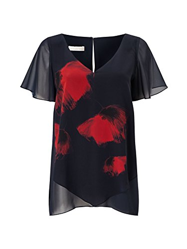 0a7bc764d72 Jacques VERT Navy Red Poppy Blouse V Neck Short Sleeve Top RRP  39