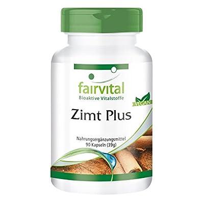 Fairvital - Cinnamon Plus - Cinnamon Extract 200mg with Chrome, Alpha-Lipoic Acid & Zinc - 90 Vegetarian Capsules by fairvital