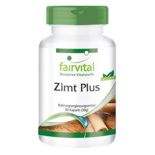 Zimt Plus - HOCHDOSIERT - VEGAN - 90 Kapseln - Zimt-Extrakt mit Chrom und Zink