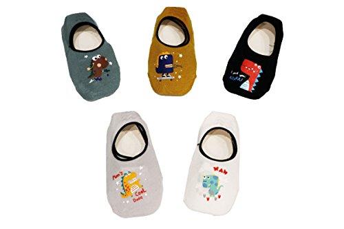 Jt-amigo 5 paia di calzini antiscivolo invisibili bambini e ragazzi, set 2, 1-3 anni