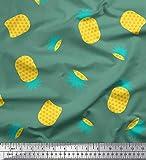 Soimoi Grun Baumwoll-Popeline Stoff Ananas Obst Stoff