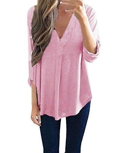 StyleDome Damen Locker V-Ausschnitt Lange Ärmel Solide Unregelmäßigen Bluse Rosa 52 (Top Tunika Rosa)