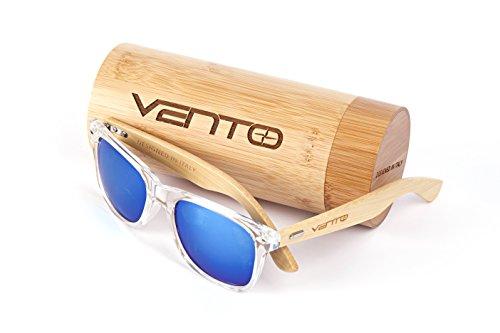 Vento Eyewear® Modelo Chinook Ice&Green - Gafas de Sol de Madera de bambú, diseñadas en Italia con certificados CE y protección UV400, Marco Transparente Lentes Verde