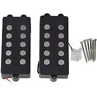 BQLZR Negro imán de cerámica recogida de cadena 5 P Bass Humbucker Doble Bobina para para Bass Pack de 2
