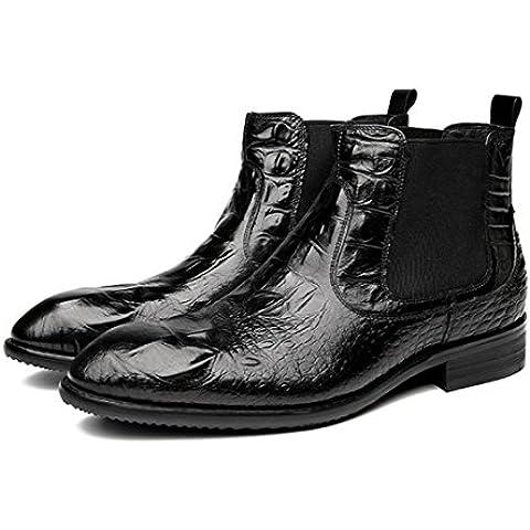 WZG botas de los nuevos hombres ocasionales británica Lun Mading botas botas puntiagudas botas de cuero negro hombres Dongkuan , black , 40