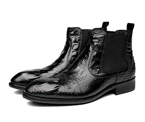 WZG stivali da uomo Nuovi casuali britannico Lun Mading stivali a punta stivali di pelle uomini neri Dongkuan , black , 40 - Goffratura Cera
