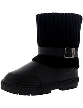 Damen Knitted Cardy Cuff Schnalle Strap Winter Schnee Warm Pelz Gefüttert Stiefel