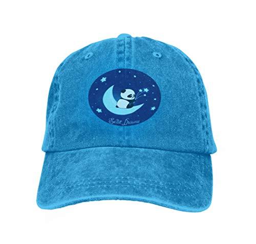 Trucker Hat Unisex Adult Baseball Mesh Cap Cute Little Panda Bear Moon Sweet Dreams Cute Little Panda b Blue