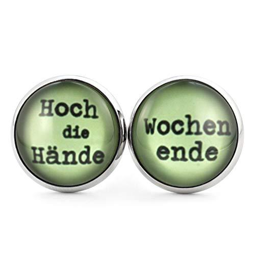 SCHMUCKZUCKER Damen Herren Unisex Ohrstecker mit Spruch Hoch die Hände - Wochenende Edelstahl Ohrringe Silber (14mm)