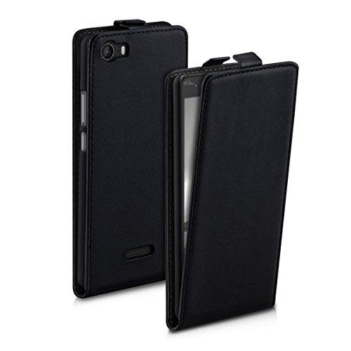 kwmobile Funda para Wiko Fever 4G - Carcasa para móvil de [Cuero sintético] - Case [Plegable] en [Negro]