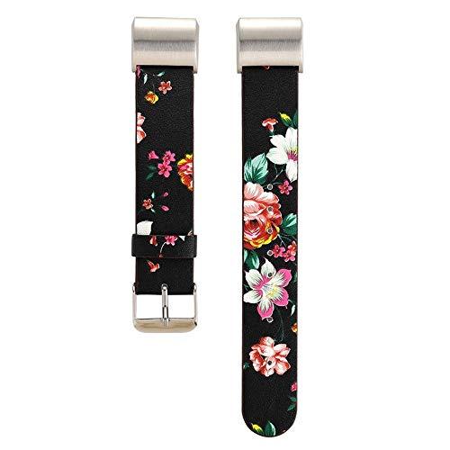 Omiky® Pattern Leather Strap Ersatz Uhrenarmband Perfekt für Fitbit Charge 2 Justierbares Ersatz Bügel Armband Ersatzarmband - Leder Bügel Riemen