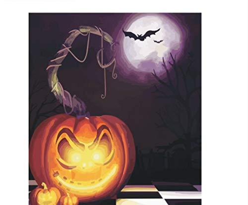 XIGZI Unframed Halloween Theme DIY Malen nach Zahlen Acrylbild auf leinwand Moderne wandkunst für hauptdekoration 40x50 cm,Ohne Rahmen,J