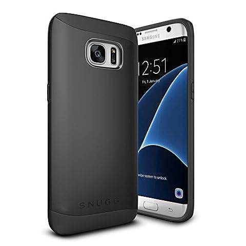 Coque Galaxy S7 Edge, Snugg Samsung Galaxy S7 Edge Double Couche Case Housse Silicone [Bouclier Légère] Etui de Protection – Noir, Infinity Series