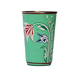 eCraftIndia Handpainted Decorative Steel Glass - 102 Green Color