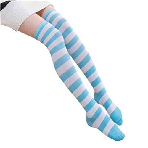 HABI 1 Paar Gestreifte blau & weiß Kniestrümpfe Frauen über Knie-Lange Overknee Überknie Strümpfe cosplay (Frauen Für Kostüme College)