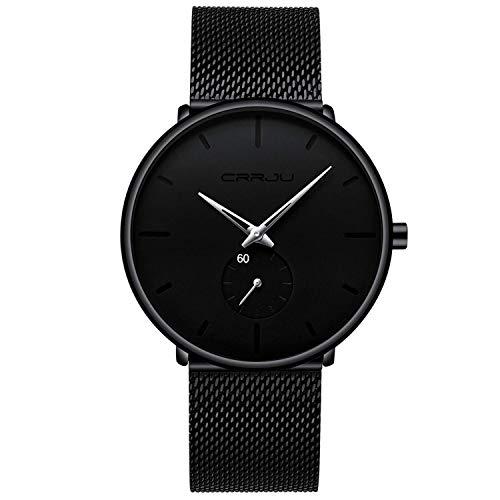 Relojes Hombre De Malla Ultra Fino Negro para Hombres Relojes De Pulsera De Moda Minimalista Relojes Hombre Casual Reloj Hombre De Cuarzo Impermeable-Plateado