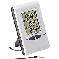 PEARL Aussenthermometer: Digitales Innen- und Außen-Thermometer mit LCD-Display und Uhrzeit (Thermometer Digital Großes Display)