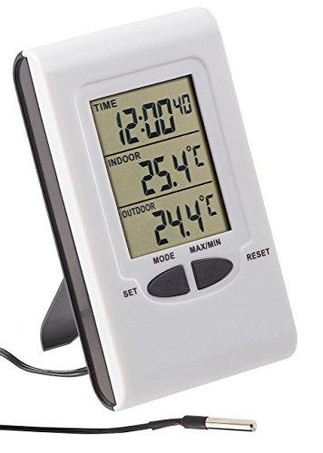 PEARL Außenthermometer: Digitales Innen- und Außen-Thermometer mit LCD-Display und Uhrzeit (Temperaturanzeige)