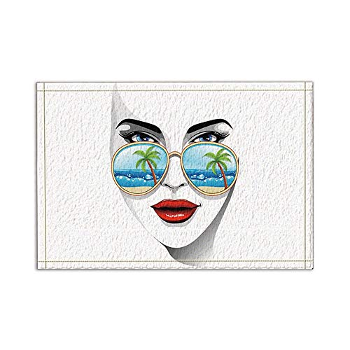 JoneAJ Die Strand-Kokosnuss-Bäume sind in der dunklen Brille spiegelt Sich der schönen Frauen Bad Teppiche rutschfeste Boden Einfahrten im Freien Innenhaustür-Matte 15.7x23.6in Badmatte Badteppiche