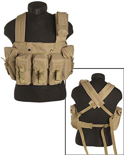 Mil-Tec Taktische Weste Chest Rigg 6 Pocket Army Taktikweste Paintball Einsatzweste Kampfweste Modularsystem viele Farben (Coyote) -