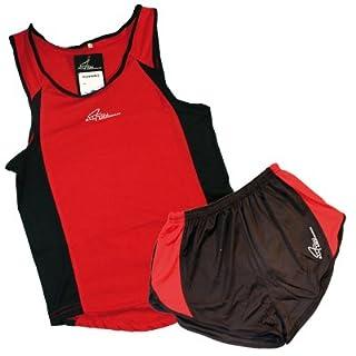 Running set race short singlet, red/black, medium