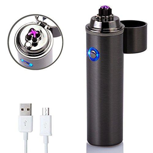 Accendino Elettronico - Forhu Di-lighter a Doppio Elettrico Arco Accendino Ricaricabile - USB Accendini Antivento Ricaricabile (Business Nero)