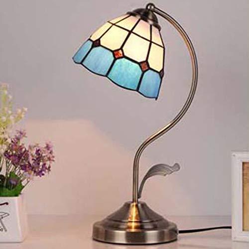 DSHBB Tischlampen im Tiffany-Stil, mediterraner Stil, Kreative Vintage, Mosaik-Lampe aus Glas, warm, Pastoral, Schlafzimmer, Studium Dekoration, Nachttischlampe, blau -