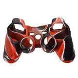 Etui de Protection Couverture de Skin en Silicone pour Manette PS2 PS3 - Noir-Rouge