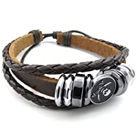 Konov Jewellery Mens Womens Leather Bracelet, Pirate Skull Charm Bangle, fit 7-9 inch, Brown (with Gift Bag)