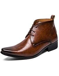 d175e4d8880aa DADIJIER Bottines à la Mode pour Hommes Casual Couleur Pure Bout Pointu  Style Britannique Bottes Hautes Durable (Color   Marron,…