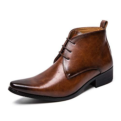 Leder Herrenmode Stiefeletten Lässig Reine Farbe Spitz Britischen Stil High Top Boot Mode Slipper Schuhe (Color : Braun, Größe : 43 EU) -