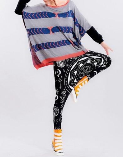 ELLAZHU Damen Fashion Harem Hippie Hexagramm Gedruckt Pants Hose GK07 A Schwarz