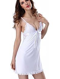 Aibrou Femme Chemise de Nuit Modal Nuisette Babydoll Peignoir simple Bretelles Reglables Robe de Chambre