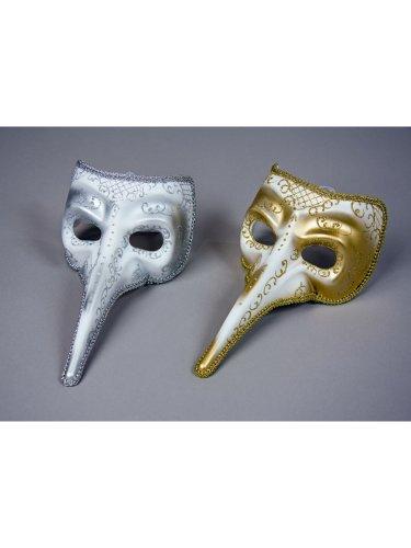 Venezianische Maske weiß Silber Lange - Pantalone Kostüm Und Maske