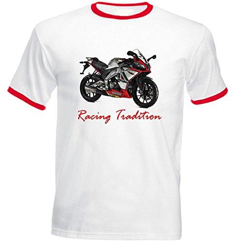 TEESANDENGINES Men's Aprilia Sonic GP 50 Inspired Racing Red Ringer T-Shirt Size XLarge Sonic Ringer