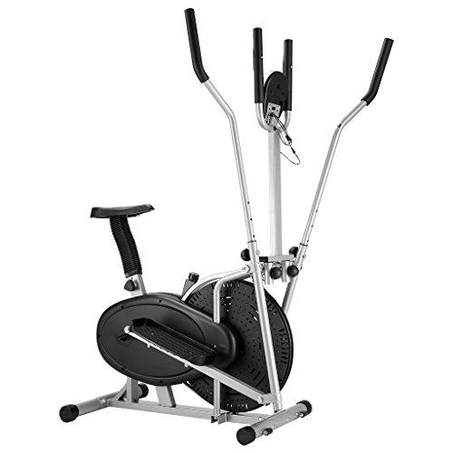 Finether Vélo Elliptique Mixte Adulte Vélo d'appartement Trainer la Fréquence Cardiaque 5 Ecrans LCD, Pouls à la Main, Réglable Résistance, Capacité 120 kg, Noir