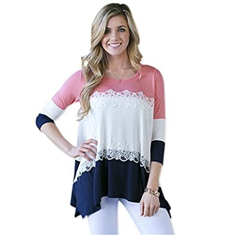 STA Women's Casual Splice 3/4 Sleeve Round Neck Tunics T shirt (L, Pink)
