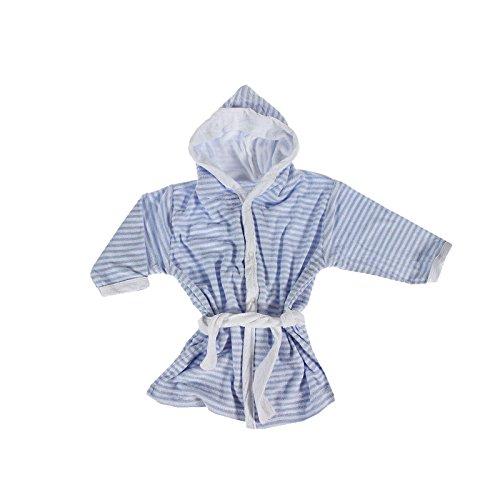 Baby–Accappatoio in spugna soffice e caldo a righe cappuccio e cintura, Misto cotone, rose-weiss, 74-80 bleu-weiss