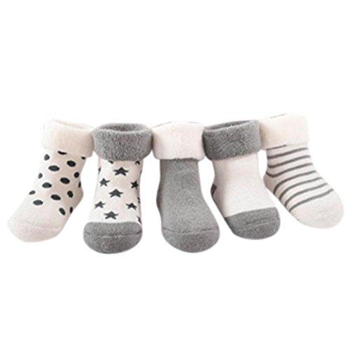 Baby StrüMpfe,Bobo4818 5 Stk. Baby Girls Boys Warm halten Verschiedene Muster Print Anti-Slip Socke (Age:9-18M, grau) (Geboren Schuhe Kinder Mädchen)