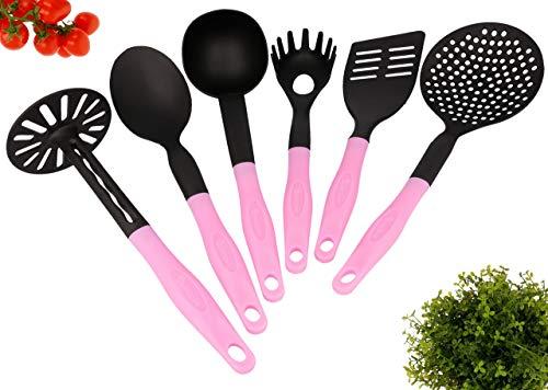 Lantelme Küchenhelfer 6 teilig Kochbesteck rosa Spülmaschinenfest 7642