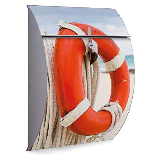 Burg Wächter Edelstahl Standbriefkasten | Modell Riviera 46cm x 33,5cm x 13cm groß mit Ständer | Postkasten freistehend, großer A4 Einwurf, 2 Schlüssel | Briefkasten mit Motiv Roter Rettungsring