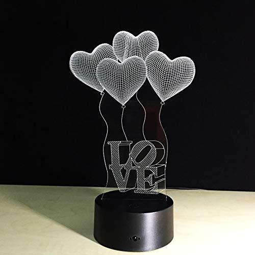 GUANGYING Luz Nocturna Lámpara De Mesa Colorida Amor Corazón Globo Regalo Romántico Toque 3D Bebé Noche Lámpara De Mesa