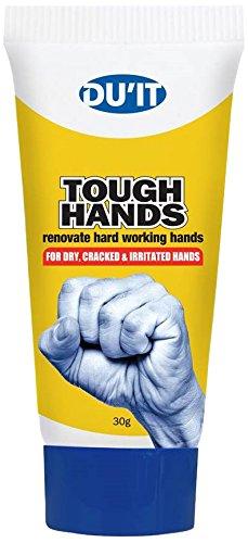 DuIt Tough Hands Intensive Handbalsam 30 g Handtaschengröße, 10% Harnstoff, Vitamin E, Teebaumöl, Exoliate, schützt und weicht.