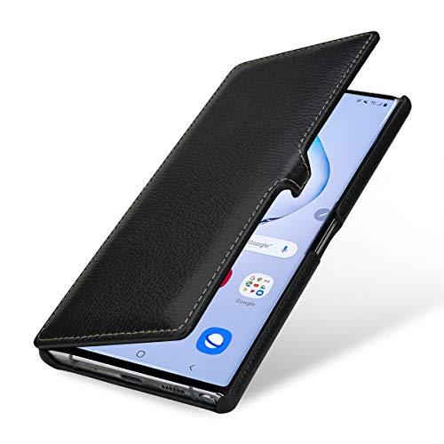 StilGut Hülle kompatibel mit Galaxy Note 10+ Tasche aus Leder, Book Type, schwarz mit Clip -