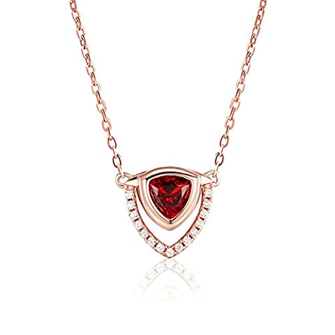 S925 Sterling Silver Or rose -Plaqué Mosaic Gem Pendant Collier