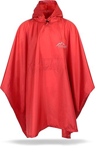 normani Unisex Regenponcho Regencape Regenmantel mit Kapuze - 6000 mm Wassersäule - 100{bd0fb209ac2a7edcdbb6d2b0c61a1efacad4f2b6aa2b4f6034d2a6ecd0d848c7} Wetterfest aus Rip-Stop-Polyamid Farbe Rot