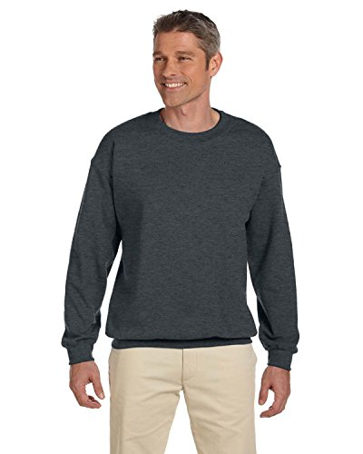 Adult Crewneck Fleece Sweatshirt (Jerzees Adult Preshrunk Fleece Crewneck Sweatshirt, Blk Hthr, Large)