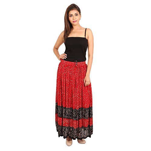 Bilochi's Women`s Rayon Multi-Coloured Skirt (Red,Free Size)