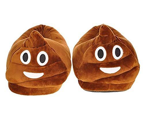 Winter Baumwolle Pantoffeln Plüsch Wärme Weiche Hausschuhe,Kuschelige Emoji Home Rutschfeste Slippers mit Cartoon für Herren Damen (Smiley Poop)