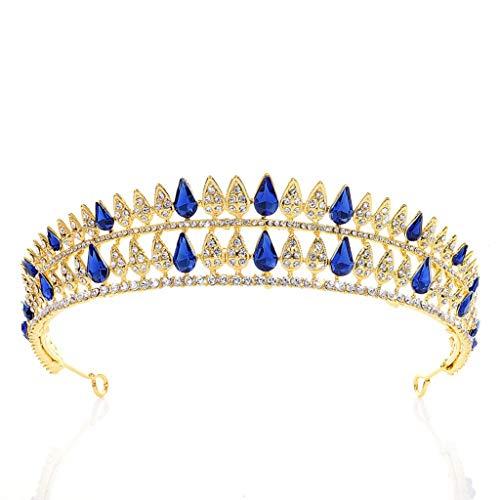 YQN-wedding Neue Braut Strass Krone Multi-Drop Legierung Gold Hochzeit Kopfbedeckungen Krone Zubehör Kristall Kronen Diadem Diadem Mädchen Stirnbänder, blau